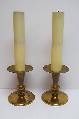 "+ Pair of Used Brass Church Altar Candlesticks with Shells + 16"" ht + (CU417)"
