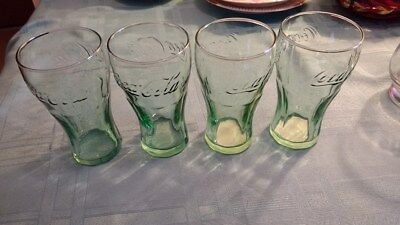 Coca-Cola 6.25 oz Tumbler Verde Green Glasses, Set of 4 ~ Free S&H!