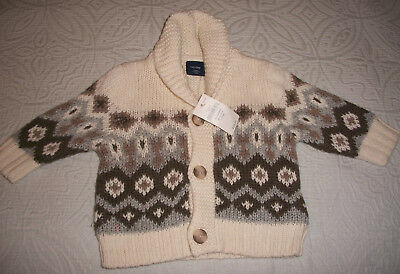 NWT BABY GAP CREAM KNITTED ARGYLE SWEATER 0 -3 Mo FREE SHIPPING