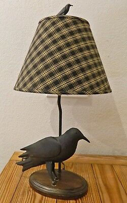 """Metal Crow Figurine Lamp with Shade Included 24"""" Tall Desk Table"""