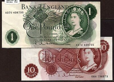 """G Britain QEII """"Hollom-Sig"""" (1962-6) 10/- & 1-Pd {DOUBLE} VF+>XF+ Notes P373/374"""