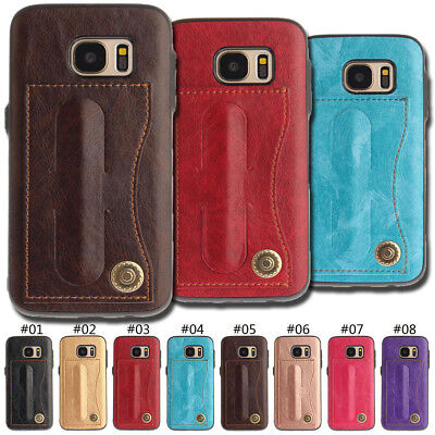 PU Leather Case Cover TPU Soft Card Slot Back Stand Skin For Samsung Galaxy S7