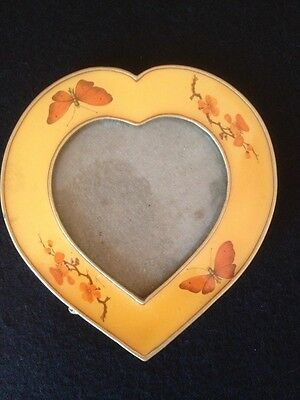 Beautiful Art Nouveau Yellow Enamel Glass Brass Heart-Shaped Frame Butterflies