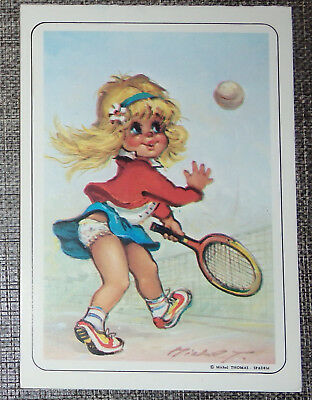 petit calendrier de poche illustration Michel Thomas poulbot tennis  1990
