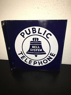 Vintage BELL SYSTEM PUBLIC TELEPHONE Double Side SIGN PORCELAIN Metal FLANGE 23