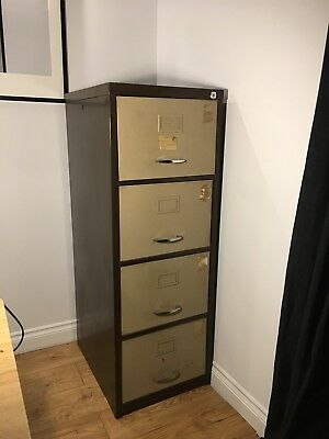 Vintage Old Industrial Office Filling Drawers Cabinet. 4 drawers