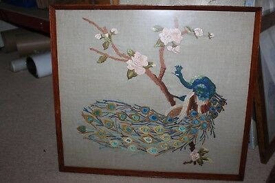 Peacock Tapestry - Framed & Lovely Condition