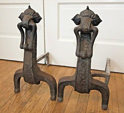 Pair of Antique Cast Iron Fireplace ANDIRONS, Art Nouveau, Ohio F&M Co.
