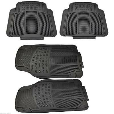 4 X Heavy Duty Waterproof Black Rubber Car Mat Set Non-Slip Grip Front Back Uber