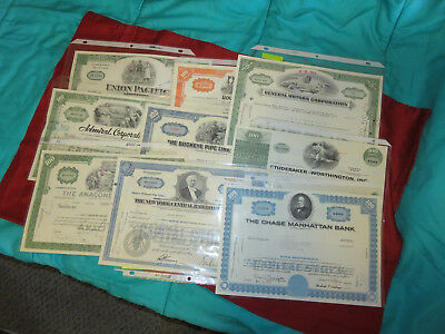 Collection 1960s stock certificates Union Pacific, New York Central, Studebaker+