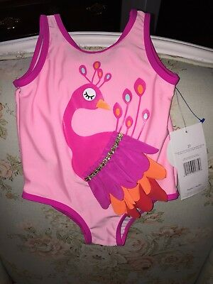 Candlesticks Pink Peacock Swimsuit Size 3T New Tags