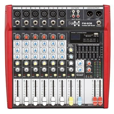 E-Lektron PW-608 Live Power-Mixer 6-Kanal + stereo MP3 & AUX Mischpult Endstufe