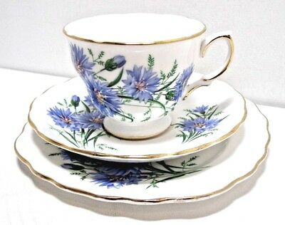 "Vtge Royal Vale China Trio.""Cornflower"" .c.1960s. Ridgways.Cup, Saucer, Plate,"