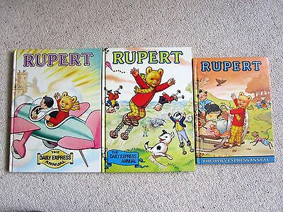 Vintage Daily Express Rupert Bear Annuals 1978, 1982 1983 Excellent Condition