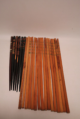 Vintage Wooden Black Lacquer & Hand Made Bamboo Chopsticks 11 Sets. 8 Bamboo 10.