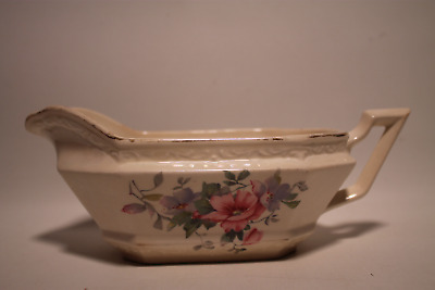 Vintage 1930's Edwin M Knowles China Co. Gravy Boat #34-6 Pink & Lavender Flower