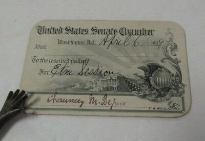 1909 U.S. Senate Pass for Extra Session, SENATOR CHAUNCEY DEPEW, New York