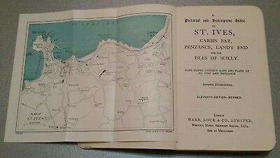 Vintage Map. 1925-1928.st. Ives.cornwall.illustrated Guide Book.prop.display.