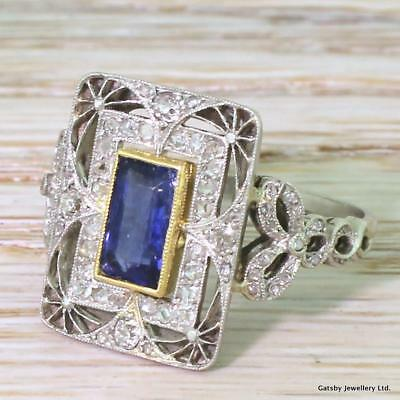 EDWARDIAN 1.18ct NATURAL SAPPHIRE & DIAMOND CLUSTER RING - Plat - FRENCH, c 1910