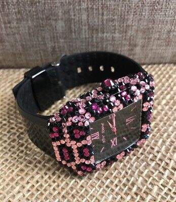 Betsey Johnson Rhinestone Watch Pink and Black! Works!
