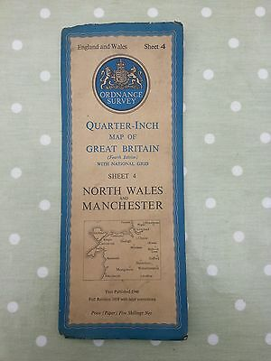 Vintage Ordnance Survey Map.england & Wales.sheet 4. North Wales & Manchester.