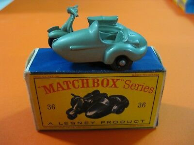 Vintage 60/70´s Matchbox Lesney Nº36 Motor Scooter And Sidecar Lambretta Tv-175