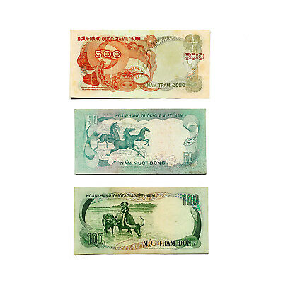 3 different South Vietnam paper money 1960's-70's nice circ.-a little staining