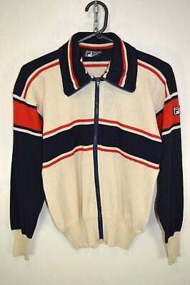 vtg 80s FILA WHITE LINE BJ TRACKSUIT TOP WOOL TRACK JACKET RARE CASUALS size S