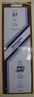 Showgard size 57 black hingeless stamp mount NEW unopened pack 1st quality 215mm
