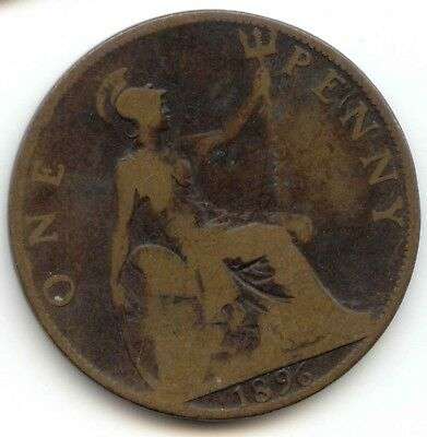 UK 1896 Bronze Penny (95% Copper) Pence Great Britain *EXACT* COIN