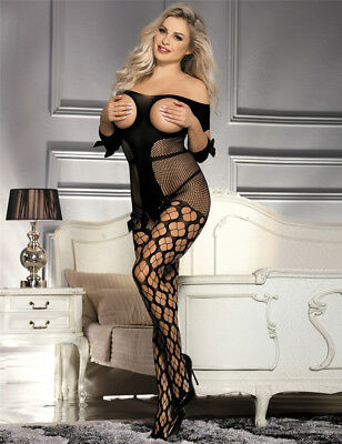 Women Sexy/Sissy Lingerie Crotchless Bodystocking Catsuit Nightwear 8-16  A2
