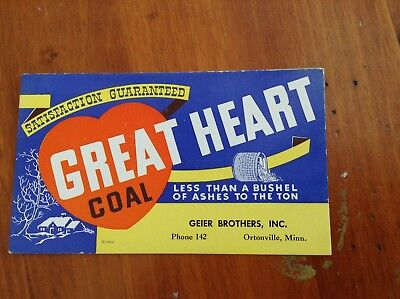 Great Heart Coal Ink Blotter Ortonville MN Minnesota Minn Geier Brothers Inc.
