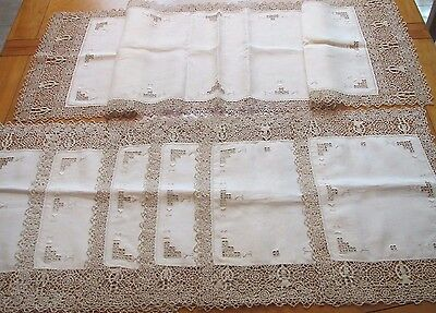 Vintage Placemats Table Runner Needlelace Antique Linen Lace Reticella 7 pc Set