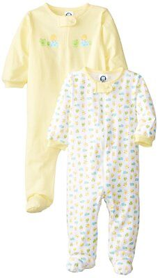 Gerber Unisex-Baby 2 Pack Sleep N Play Zip Front Yellow Ducks 3-6 Months