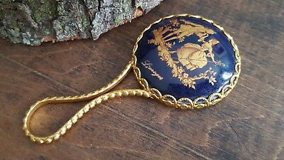 Small Romantic COBALT BLUE & GOLD Gold Tone Filigree LIMOGES HAND MIRROR