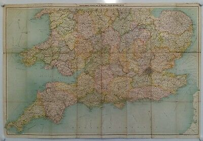 Vintage Map.bartholomew's.tourists Map Of England & Wales.on Cloth.prop.display.
