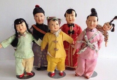 6 Vintage Chinese Composition & Cloth Doll Family Lot Silk Outfits Made in China
