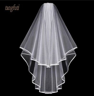 6 ft Simple One Layer White Wedding Veil With Comb VL3005