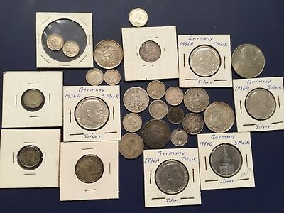 Foreign Silver Coin Lot of 28 - 1800/1900s - England, Canada, Germany, Guatemala