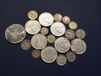 Foreign Silver Coin Lot of 20 - England, Canada, South Africa, Portugal, Germany