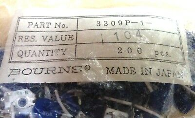(200 pc NOS lot): 3309P-1-104 Bourns Trimmers, 100K Res Value, 9mm -- Just .12ea