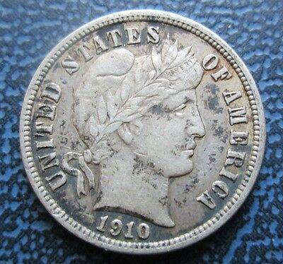 1910-S USA Silver Barber Dime, 10 Cents, High Grade example