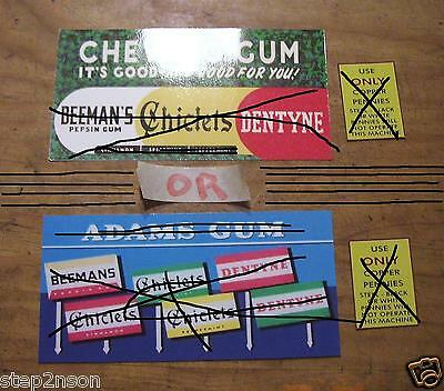 ADAMS GUM 1930s MILLS 1 CENT Water Release VENDING MACHINE DECAL Candy Wrigleys