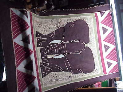 #234 African Elephants Wall Textile Tapestry & 2 Carved Wood Sculptures