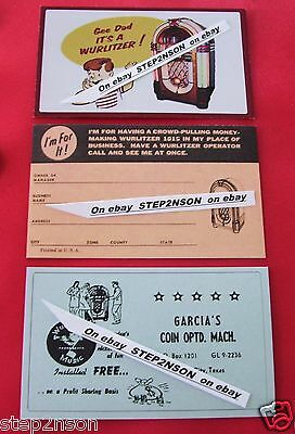 3 Large 1015 Wurlitzer Jukebox operator Mechanism /Back Door cards juke box 1946