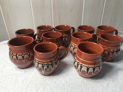 Bulgarian Pottery Terracotta 11 Mugs Coffee Cups Hand Made Monks  Marked Rare