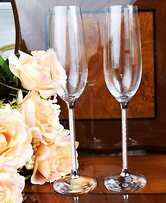 Pair of Champagne Glass Crystal Cut Swarovski Element Wedding Mothers Day Gift