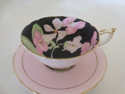 PARAGON - BLACK AND PINK -Vintage English Cup and Saucer - Handpainted