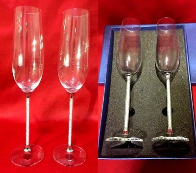 Pair of Champagne Glass Crystal Cut Swarovski Element Wedding Present & Gift Box