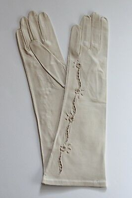 Vintage Deadstock 1950s/50s Floral Embroidered Cutout Kid Leather Gloves Size 7